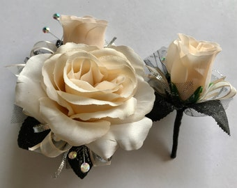 Ivory Silk Corsage Set (New Bigger Flowers )