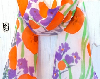 Silk Scarf Handpainted, Silk Scarf Floral, Orange and Purple Poppy Scarf, Made in the USA, Silk Scarves Takuyo, 8x54 inches, Made to order.