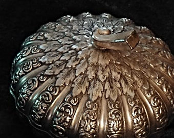 Silver Pheasant Lidded Trinket Dish Pewter Heavy Metal and Copper
