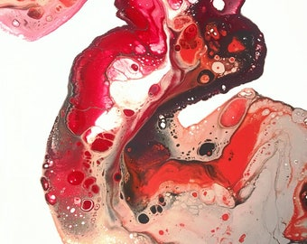 """Drops of Jupiter- Red, Orange & Grey Abstract Acrylic Fluid Painting with Negative Space on 18""""x24"""" Gallery-Edge Canvas"""