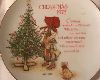 Vintage Christmas Holly Hobbie Collectible Plate Vintage Christmas Decoration Christmas 1978