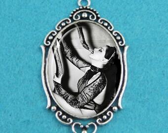 Burlesque Dancer Zorita & Snake Pendant Necklace