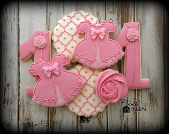 Girl 1st  Pink  Dress Birthday Decorated Cookies