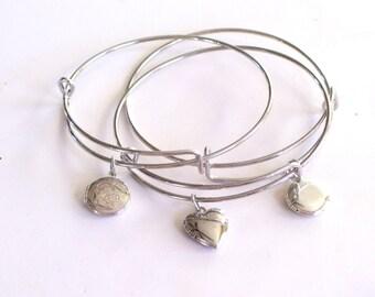 Silver Locket Bracelet, Locket Bangle Bracelet, Silver Locket Charm, Round Mini Locket, Heart Mini Locket, Layering Bangle, Stackable Bangle