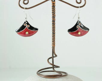 Metal enamel cloisonne with silver wire, red and black