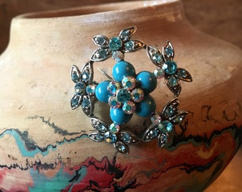 Robin's Egg Blue Floral Pin