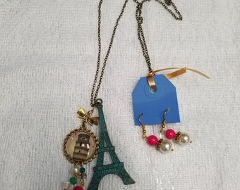 Eiffel Tower Necklace Set with Leaning Tower of Pisa Charm.