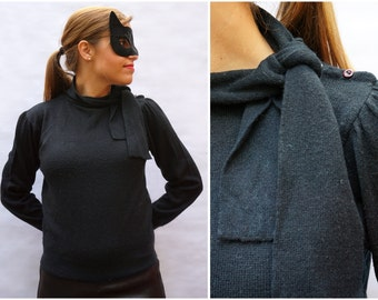 Classic 1980's Black Pullover Sweater with Neck-tie by Captions | Small/Medium
