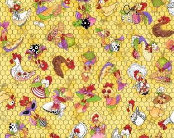 NEW Loralie Designs Chicken Chique Black Wire fabric - 1 yard