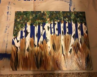 Birch Acrylic Painting 8x10in