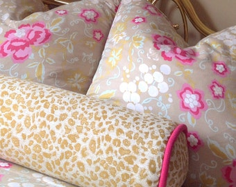 8 x 30 Large Bolster Pillow in Glam Cheetah Fabric with Contrasting Piping | Designer Quality Accent Throw Pillow