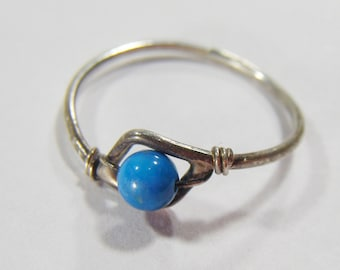 Vintage Silver Ring w/ Blue Ball Shape Stone Size 5 3/4
