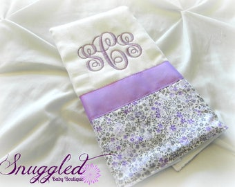 Lilac Fields Monogrammed Burp Cloth