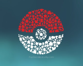Pokeball Pokemon Go Silhouette decal - Nintendo sticker - video games - wall car macbook decal laptop sticker - made in USA - PopDecalsLab