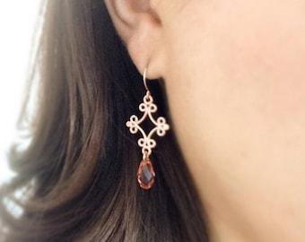 rose gold earrings - peach earrings - peach crystal earrings - swarovski peach - rose gold - as seen on the hart of dixie