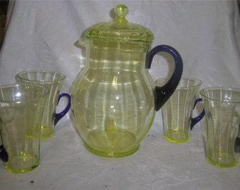 FENTON ART GLASS  Topaz Water Set with Cobalt Handles 1930's.