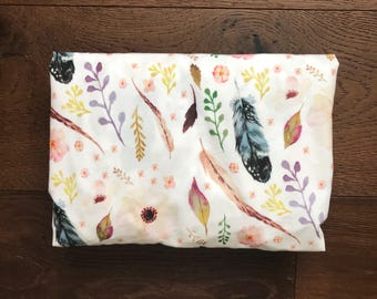 Floral & Feather Fitted Crib Sheet or Changing Pad Cover - Floral Minky Fitted Crib Sheet - Baby Girl Crib Bedding - Floral Toddler Bedding
