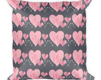 Pink Heart All Over Pattern on a Square Pillow for Sofa or Bedroom Decor,