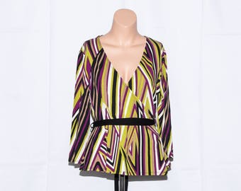 "Wallis top,Vintage jersey wrap necline top,Woman top,3/4 sleeves,Colored top,Women Blouse,size 14UK/10"""