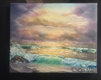 Handmade custom seascape-Small gift under 50 dollars- custom seascape-ocean sunrise-wall art-morning sunrise
