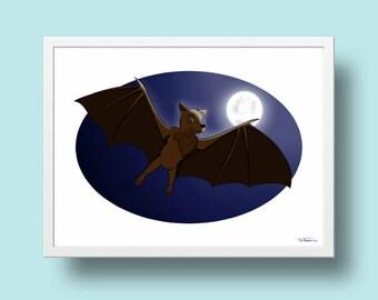 printable nursery decor, digital download, bat drawing, bat print, bat Illustration,  bat painting,  kids wall art, boy room decor