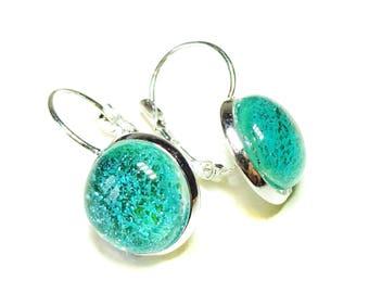 Dichroic Glass Lever Back Earrings - Sea Blue