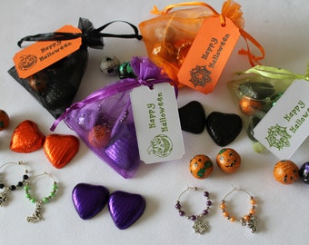 Halloween party favours with chocolates and charms