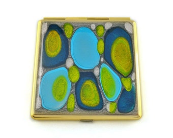 Square Compact Mirror Hand Painted Enamel in Blues and Lime Green Mod Inspired 2 Sided Pocket Mirror Personalized Options Available