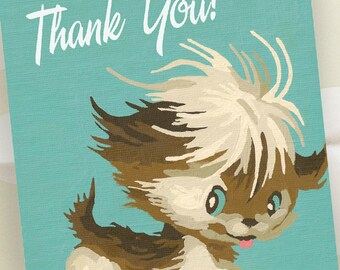 Thank You Notes - Set of 20 - Retro Puppy - Vintage Paint by Number - Ready to Ship