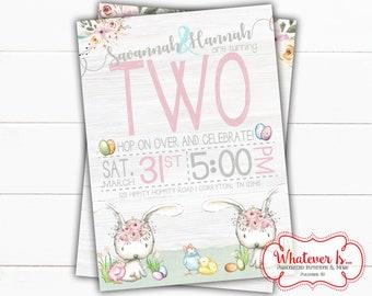 Easter Birthday Printable Invitation | Bunny Birthday Invitation | Easter Bunny Birthday Invitation | Twin Birthday | Girl Birthday | DIY