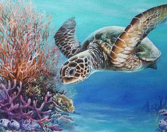 "Original Painting,Sea Turtle Painting  ""In the reef""Florida Wildlife Art"