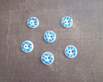 30 buttons checked gingham blue white 1,2 cm