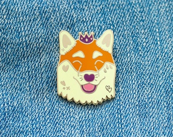 Happy Shiba Prince Enamel Pin with Butterfly Clasp // Puppy Dog, Hard Enamel, Cloisonne, Accesories, Flair