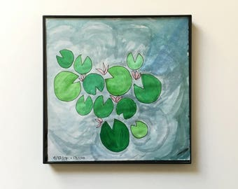 17/100: lily pond - original framed watercolor illustration