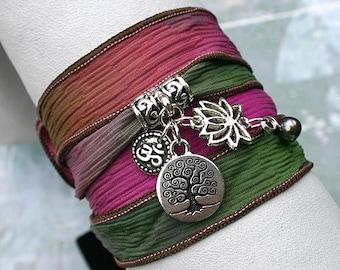 Silk Ribbon Yoga Wrap Bracelet Brass Hand Dyed Secret Garden Tree of Life, Lotus, Ohm, Pearl Charms, Yoga Jewelry Free Shipping