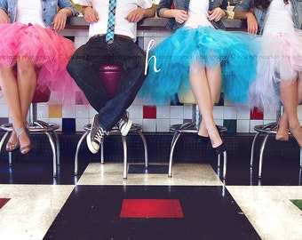Retro Flair Tulle Skirts - Half poof Sewn Tutu Skirts - your choice of color and length - bridesmaids, prom, portraits