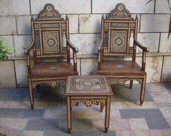 Pair of wooden Chairs with a serving table, Wood armchairs, Syrian mosaic chairs with serving table, Decorative chair, Marquetry wood
