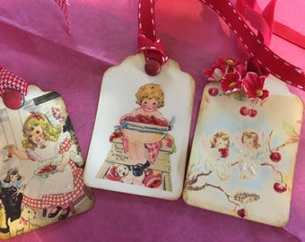 Cheery cherry themed Gift tags with  images of vintage cards