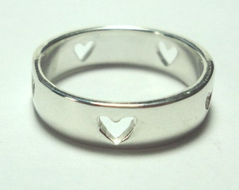 Wedding Ring Sterling Ring With Hearts Silver Wedding Band Promise Ring Commitment Ring Friendship Ring Size 7 and 5.5mm wide