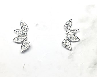 Silver Leaf studs, leaf earrings, Cubic Zirconia, 925 sterling silver, leaf ear climbers, ear curves, leaves, cz ear studs, feather studs