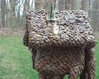 Handmade Birdhouse, Garden Yard Art, Deck Porch Patio Decor, Birdhouse with Stand, The Sleeping Gnome