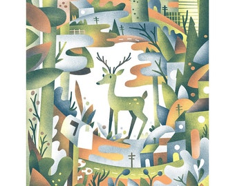 Deer Neighborhood Screenprint - deer in the hills print 18x24