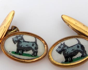 1940's Scotty Dogs Scottish Terrier Celluloid Cuff Links