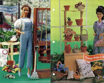 "Overalls Outfit and Flower Pots & Baskets 11 1/2"" Doll Crochet Pattern Annies Fashion Doll Crochet Club FC35-03 and FCC03-02"