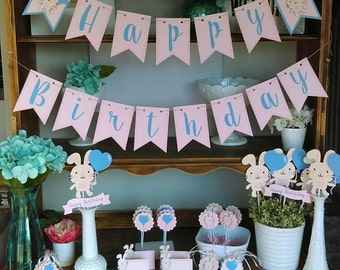 Bunny birthday party decoration package, rabbit birthday, bunny banner, rabbit birthday decoration, Some bunny is one!