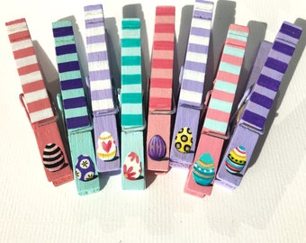 EASTER EGG CLOTHESPINS basket stuffer hand painted magnet clothespins Easter party favors Easter decoration