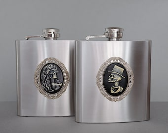 Gothic Bride and Groom Flasks Set of 2 Skeleton Stainless Steel Flask Hip Flask Pocket Flask 6oz Flask Liquor Flask His & Her Wedding Flask
