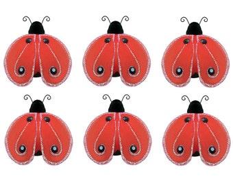 Mini Little Ladybugs 6pc Set Red Petite Lady Bug Bug Decorations Birthday Party Girl Room Nursery Baby Shower Craft Bedroom Decor Shimmer