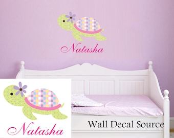 Turtle Wall Decal With Name - Name Wall Decal - Monogram Wall Decal - Vinyl Sticker