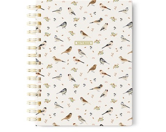 A5 Spiral Notebook, Birds Journal, Nature Notebook, Birds Lover Gift, Birds Stationery, Mother's Day Gifts For Mom, Notebook Present
